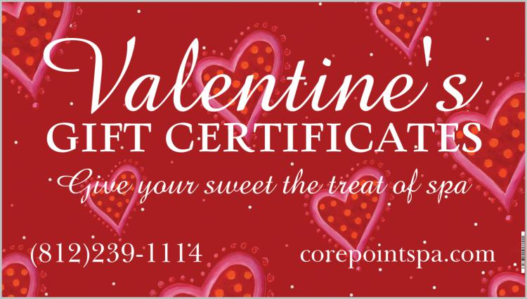 Spa Valentine's Gift Certificates from Corepoint Spa